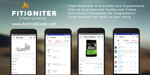 FitIgniter Fitness Database دانلود FitIgniter – Fitness Database v2.0 برنامه پایگاه تناسب اندام اندروید
