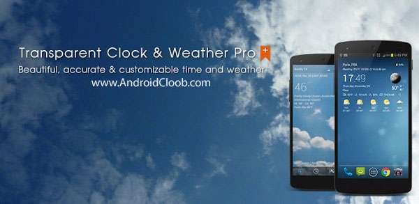 transparent clock weather pro دانلود Transparent clock & weather Pro v0.99.02.27 نرم افزار ساعت و آب هوا اندروید